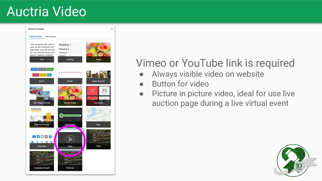 Auctria Video Vimeo or YouTube link is required...