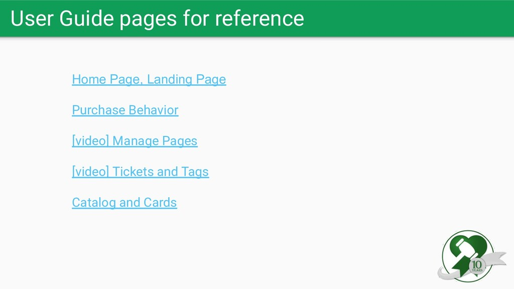 User Guide pages for reference Home Page, Landi...