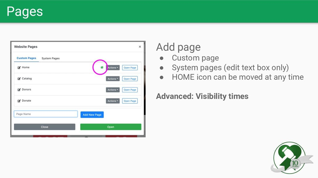 Pages Add page ● Custom page ● System pages (ed...