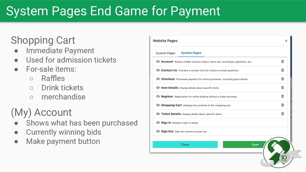 System Pages End Game for Payment Shopping Cart...