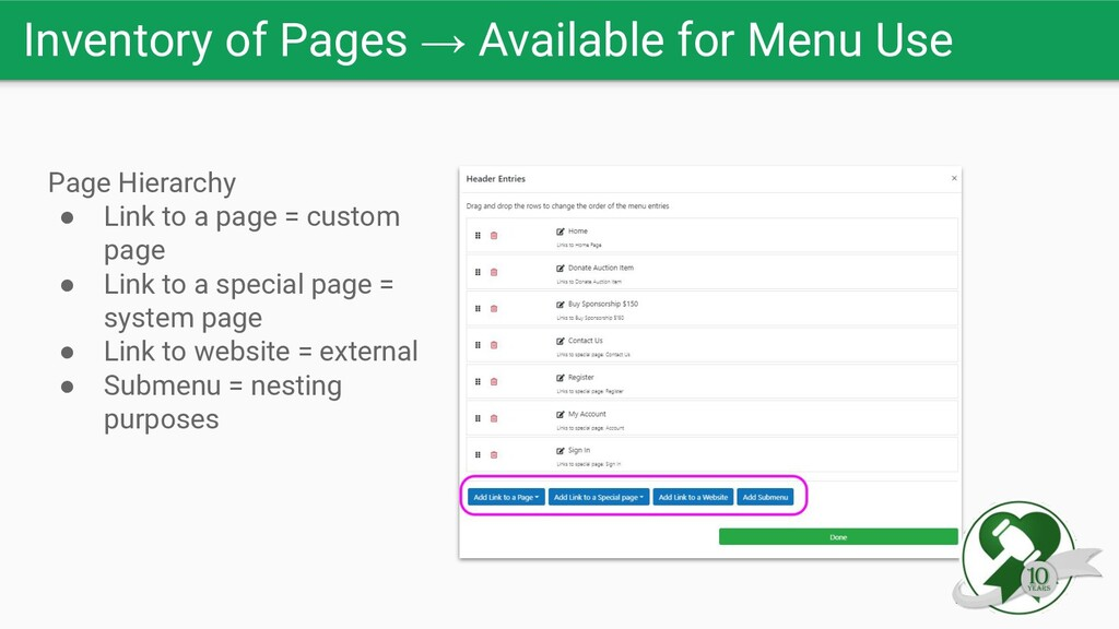Inventory of Pages → Available for Menu Use Pag...
