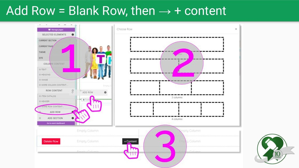 Add Row = Blank Row, then → + content