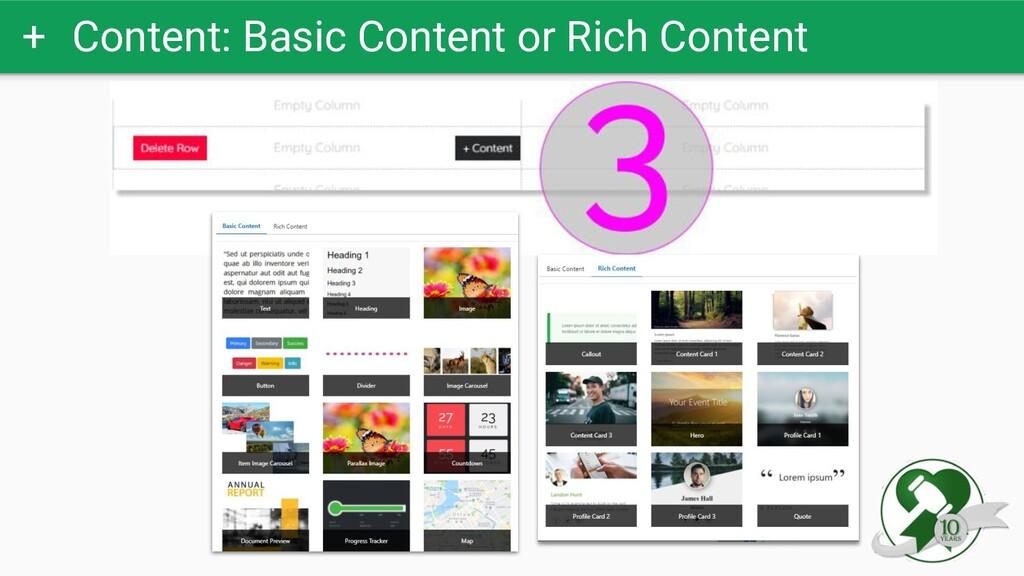 + Content: Basic Content or Rich Content