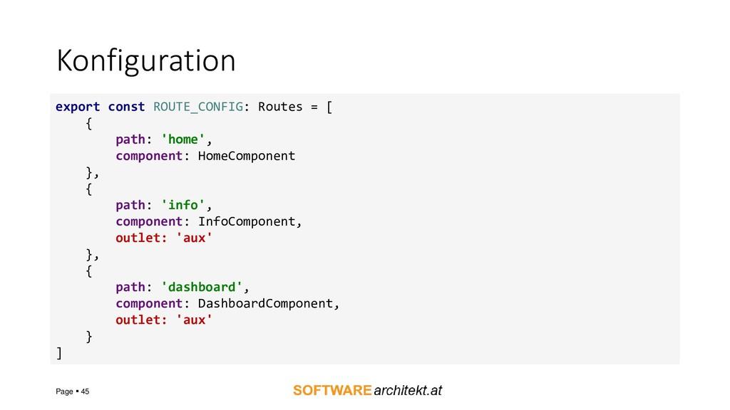Konfiguration Page ▪ 45 export const ROUTE_CONF...