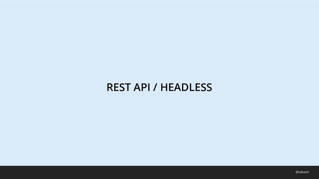 REST API / HEADLESS @lubusin