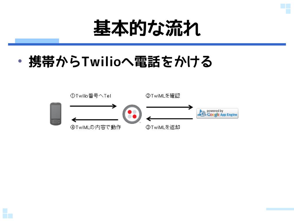 基本的な流れ • 携帯からTwilioへ電話をかける
