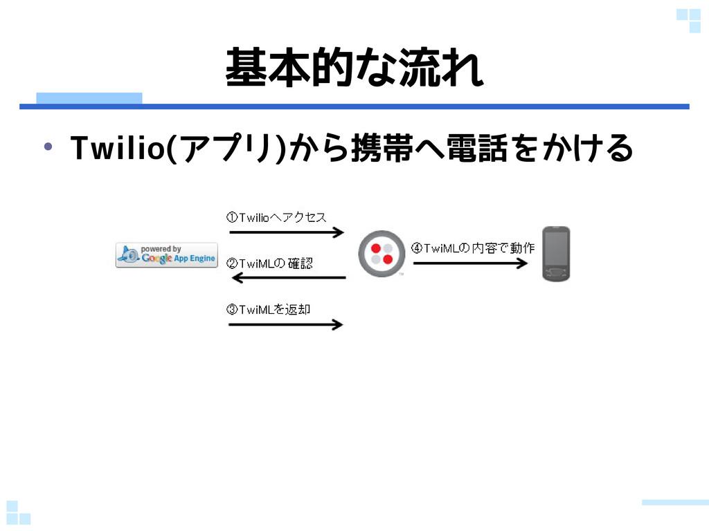 基本的な流れ • Twilio(アプリ)から携帯へ電話をかける