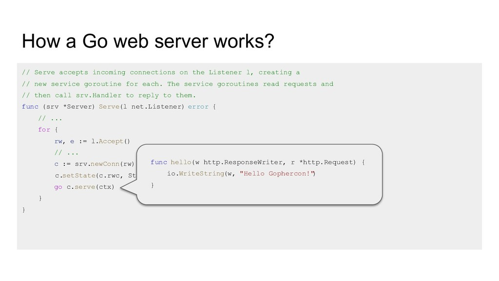 How a Go web server works? // Serve accepts inc...