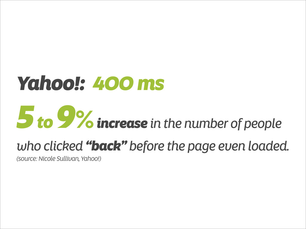 Yahoo!: 400 ms 5 to 9% increase in the number o...
