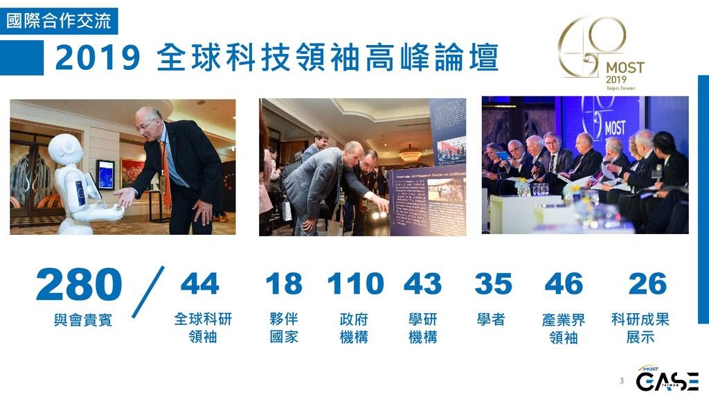 2019 全球科技領袖高峰論壇 3 國際合作交流 280 與會貴賓 44 全球科研 領袖 18...