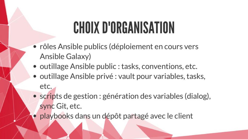 CHOIX D'ORGANISATION rôles Ansible publics (dép...