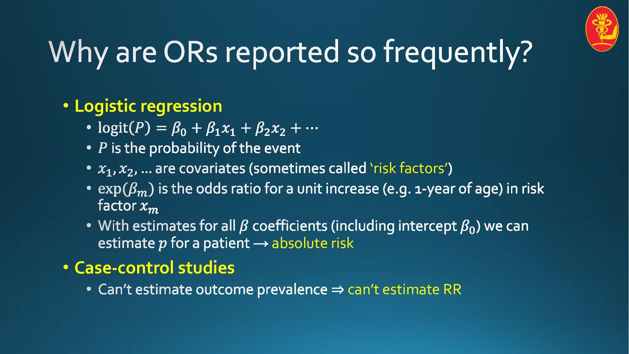 • Logistic regression 'risk factors' absolute r...