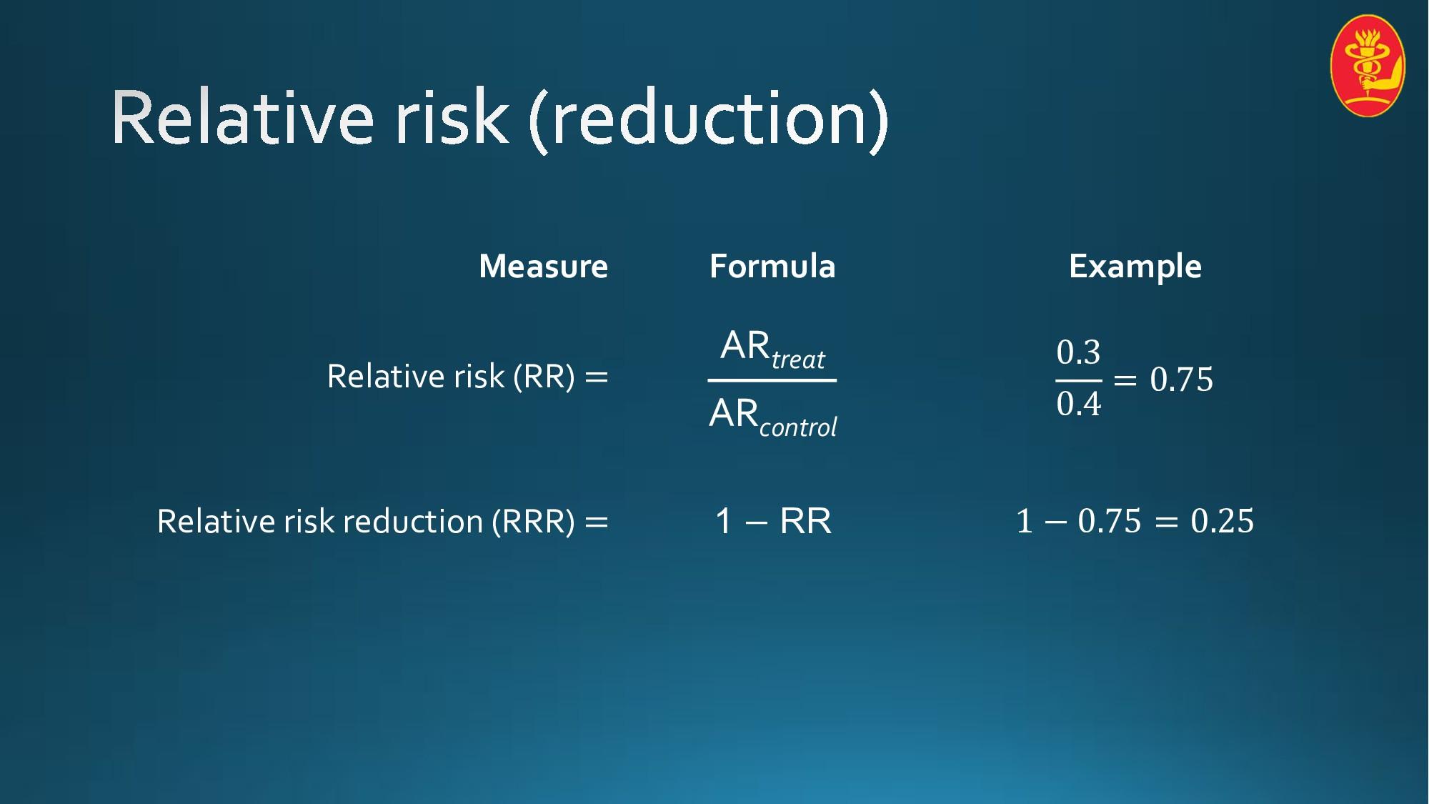 Measure Formula Example Relative risk (RR) = AR...