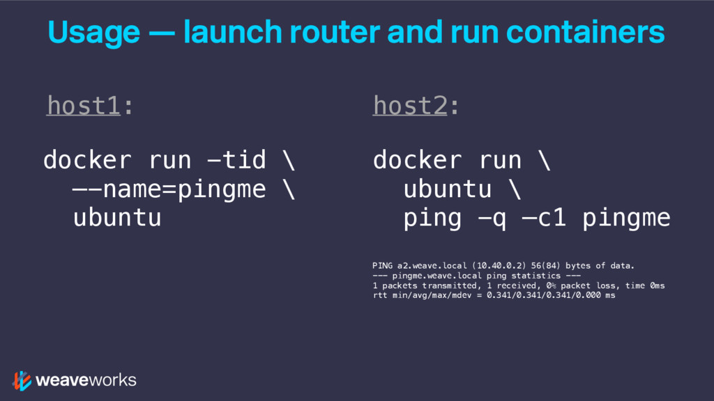 Usage — launch router and run containers docker...