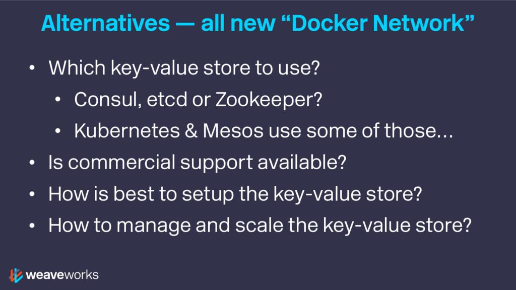 "Alternatives — all new ""Docker Network"" • Which..."