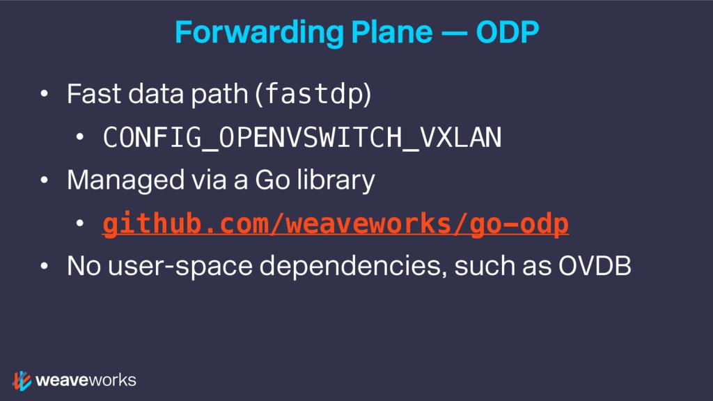 Forwarding Plane — ODP • Fast data path (fastdp...