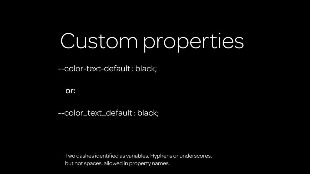 Custom properties --color-text-default : black;...