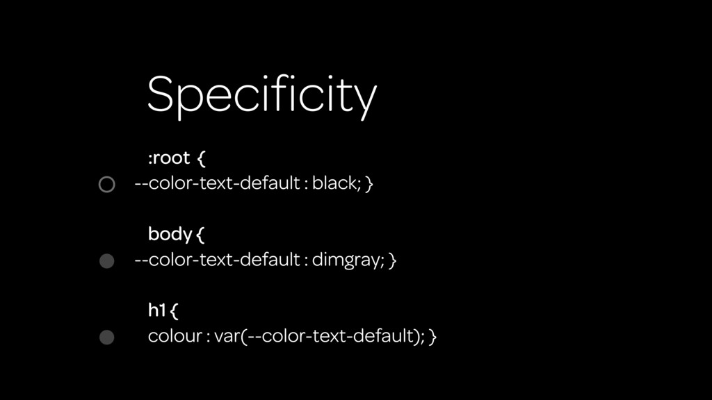 Specificity :root { --color-text-default : black...