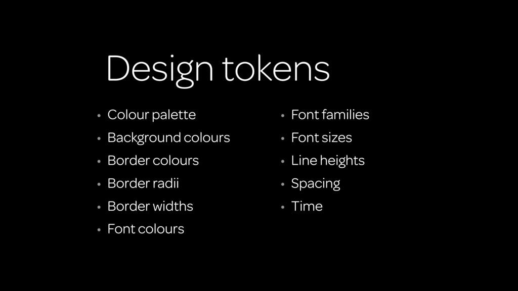 Design tokens • Colour palette • Background col...