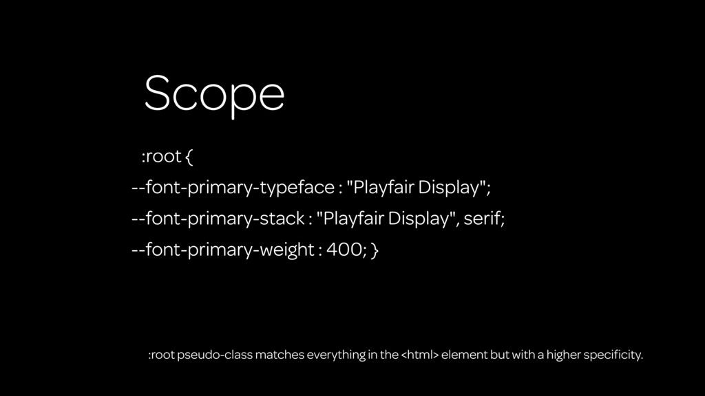"""Scope :root { --font-primary-typeface : """"Playfa..."""