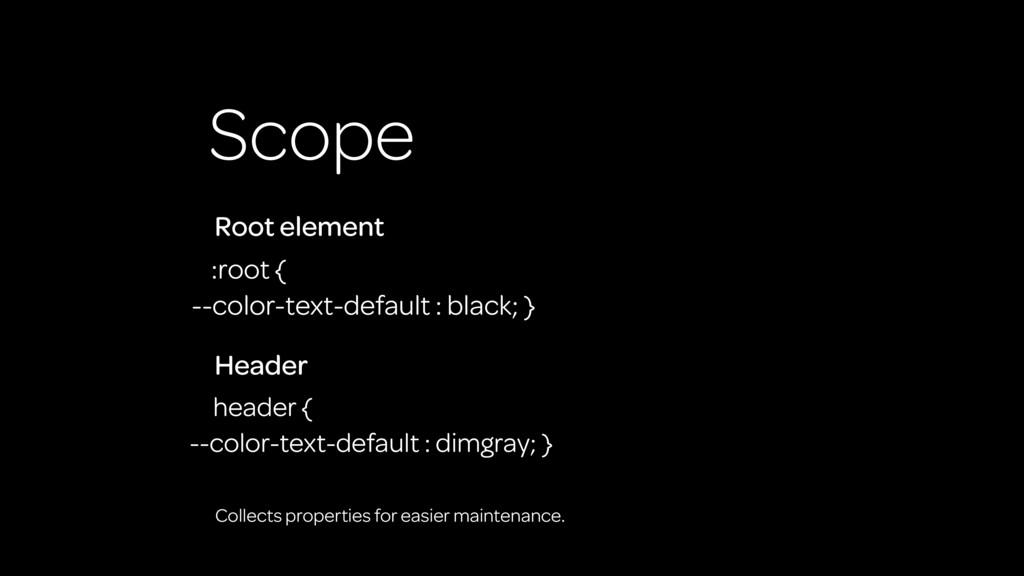 Scope :root { --color-text-default : black; } R...