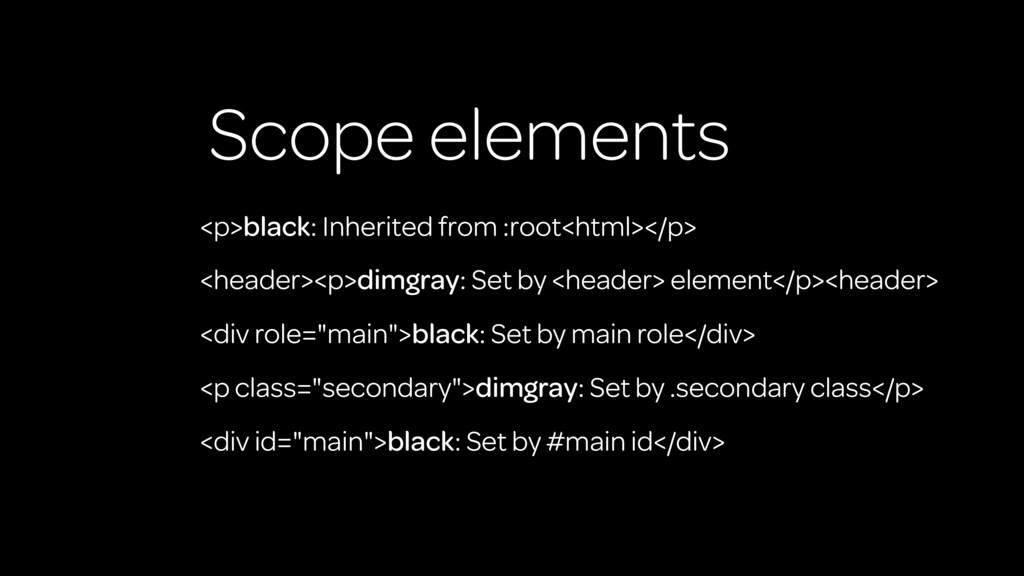 Scope elements <p>black: Inherited from :root<h...