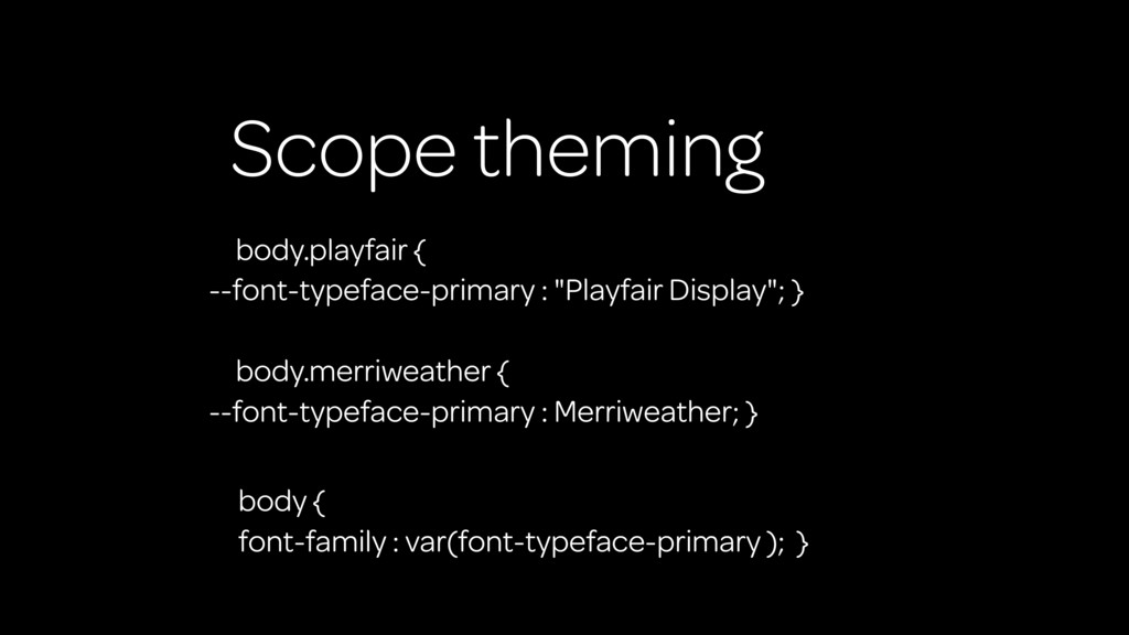 Scope theming body.playfair { --font-typeface-p...