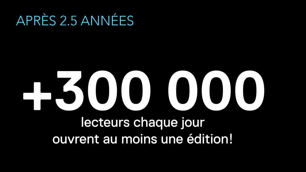 APRÈS 2.5 ANNÉES +300 000 lecteurs chaque jour...