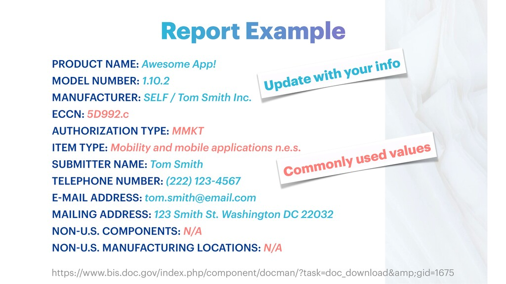 Report Example PRODUCT NAME: Awesome App! MODEL...