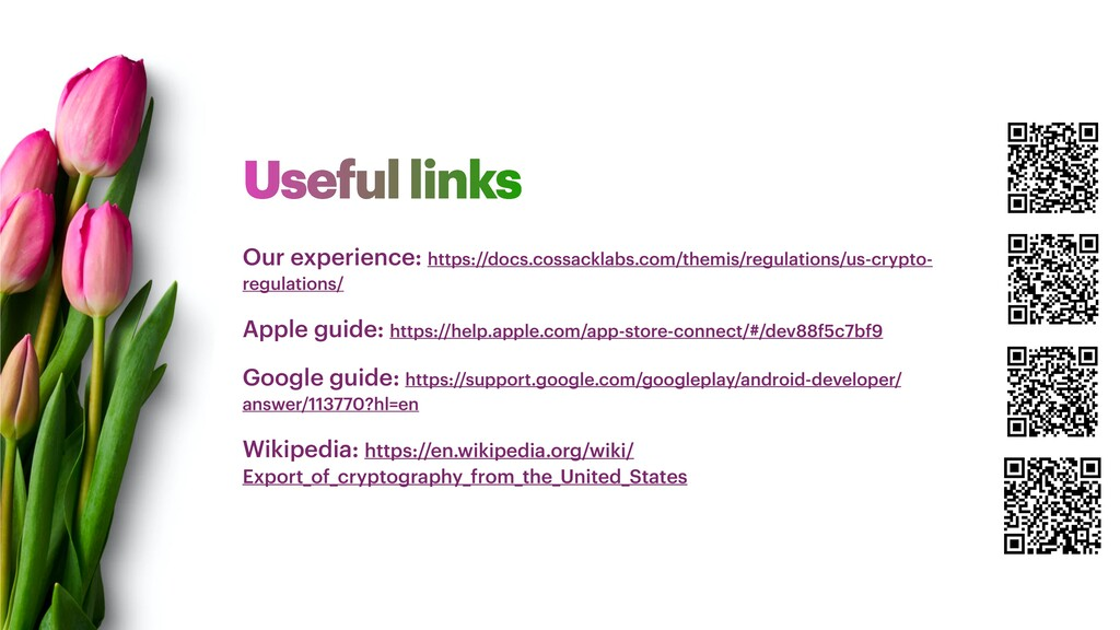 Useful links Our experience: https://docs.cossa...