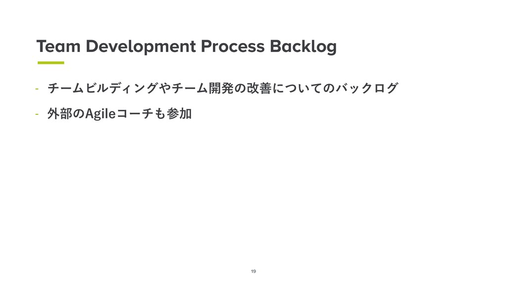 19 Team Development Process Backlog  νʔϜϏϧσΟϯά...