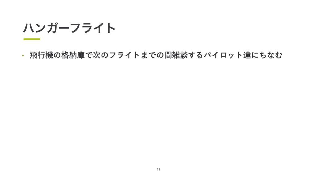 23 ϋϯΨʔϑϥΠτ  ඈߦػͷ֨ೲݿͰͷϑϥΠτ·Ͱͷؒஊ͢ΔύΠϩοτୡʹͪͳΉ