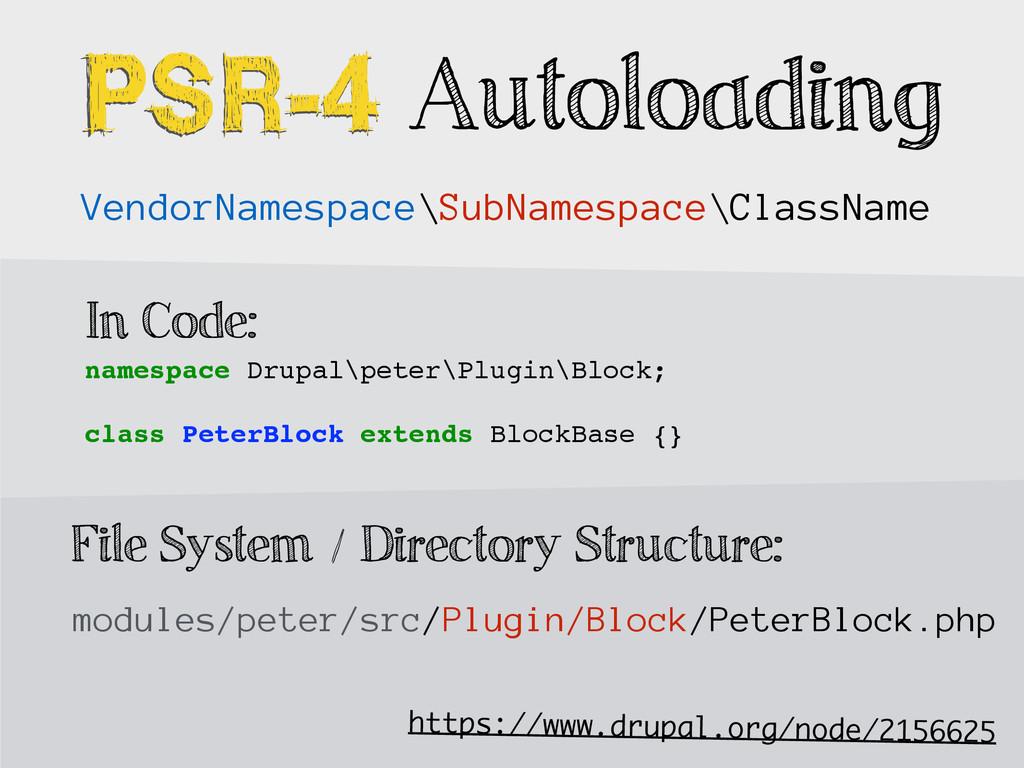 PSR-4 PSR-4 Autoloading modules/peter/src/Plugi...