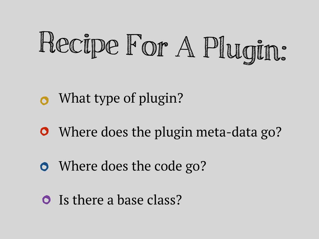 Recipe For A Plugin: What type of plugin? Where...