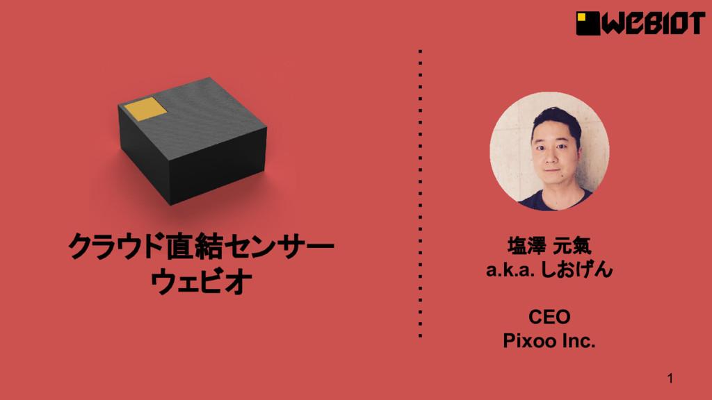 1 塩澤 元氣 a.k.a. しおげん CEO Pixoo Inc. クラウド直結センサー ウ...