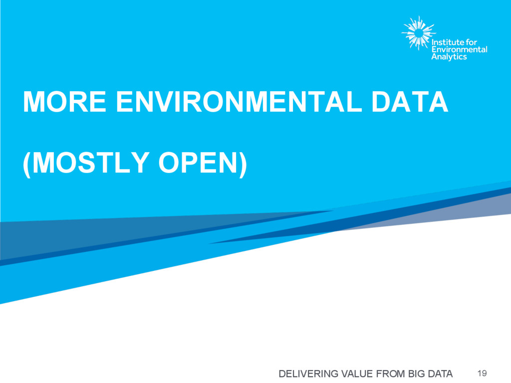 DELIVERING VALUE FROM BIG DATA 19 MORE ENVIRONM...