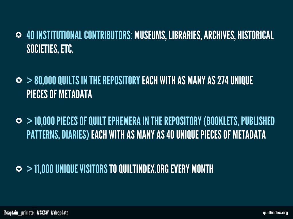 @captain_primate   #SXSW #deepdata 40 INSTITUTI...