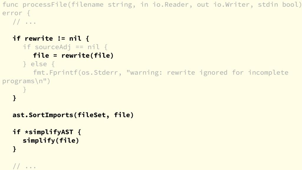 func processFile(filename string, in io.Reader,...