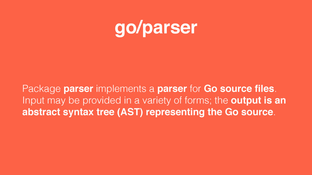 go/parser Package parser implements a parser fo...