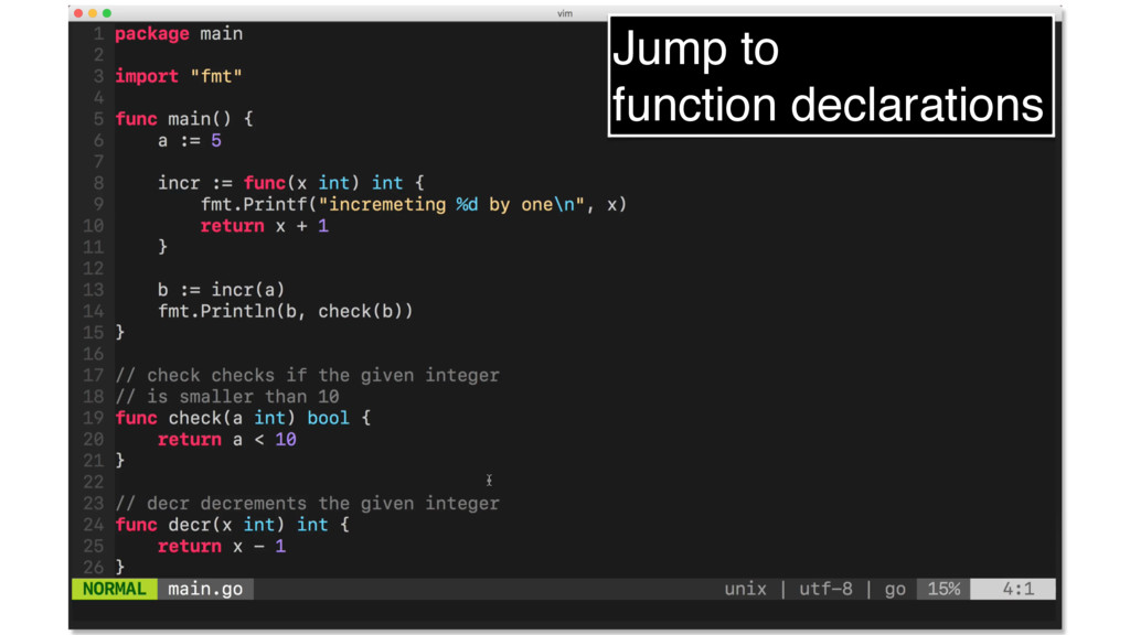 Jump to function declarations