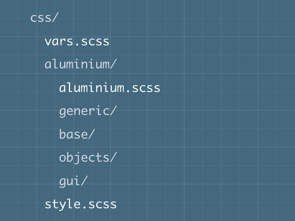 css/ vars.scss aluminium/ aluminium.scss generi...