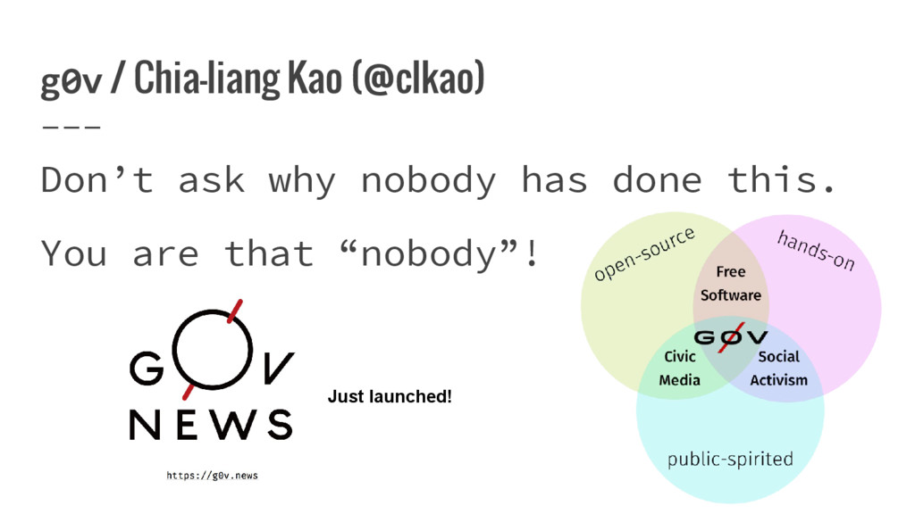 g0v / Chia-liang Kao (@clkao) Don't ask why nob...