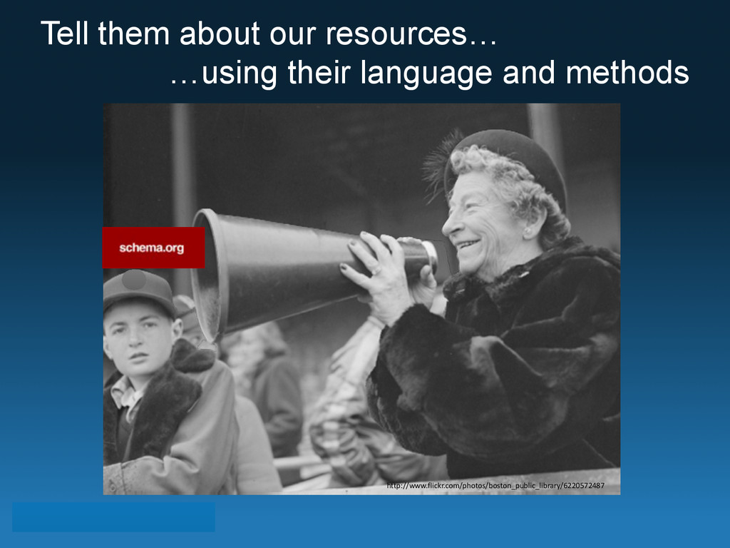 Tell them about our resources… …using their lan...