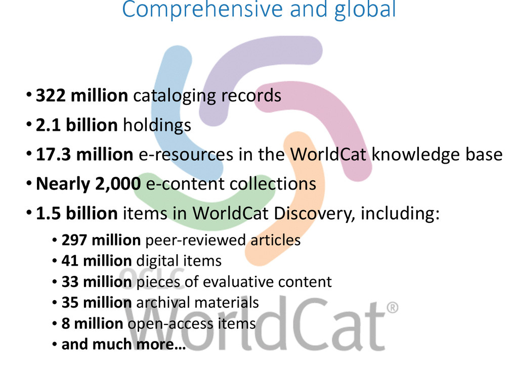 •322 million cataloging records  •2...