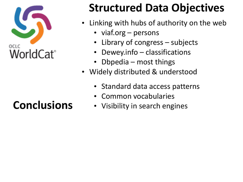 Structured Data Objectives • Linking w...