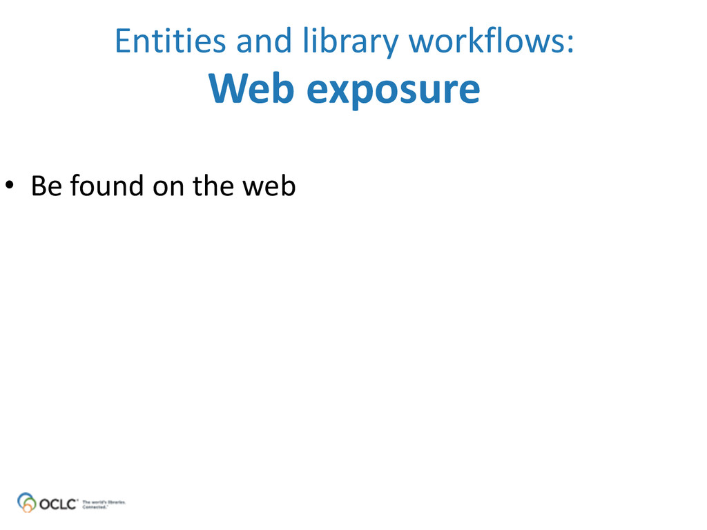 • Be found on the web Entities a...