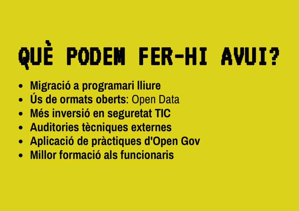 Migració a programari lliure Ús de ormats obert...