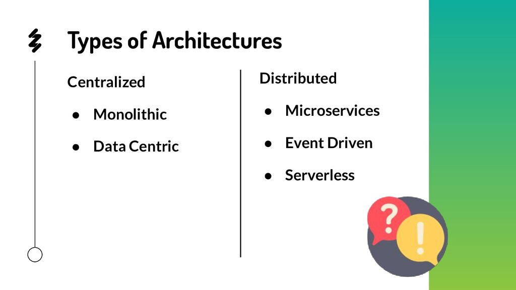 Types of Architectures Distributed ● Microservi...