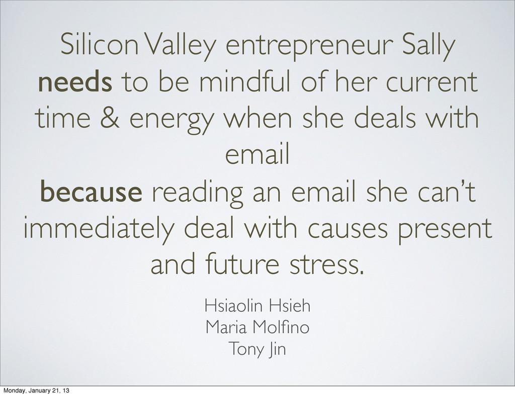 Silicon Valley entrepreneur Sally needs to be m...