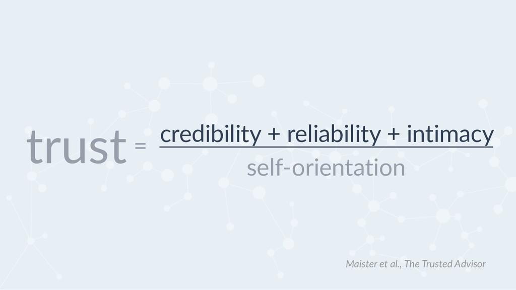 credibility + reliability + intimacy self-orien...